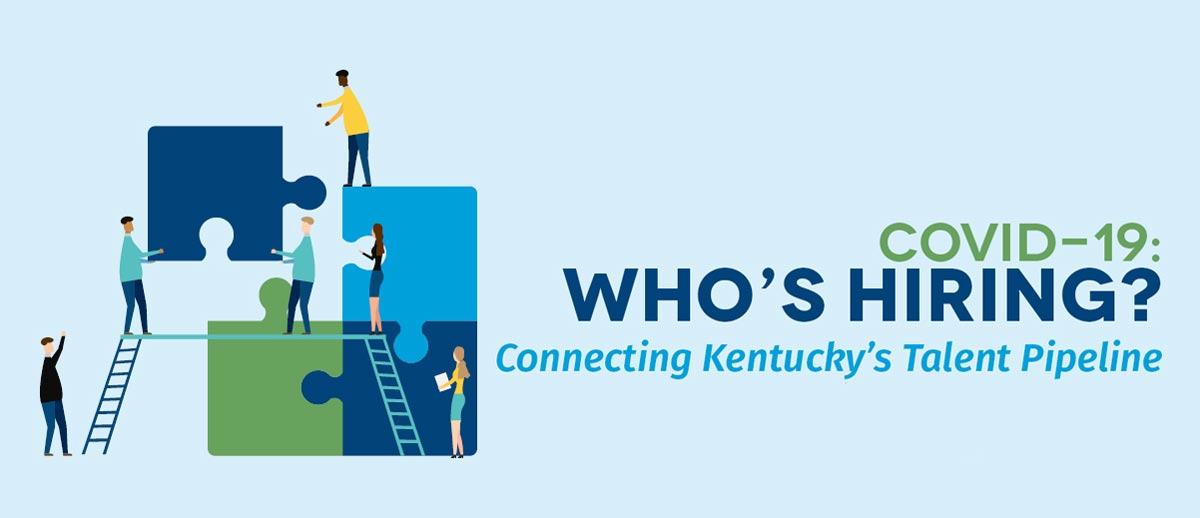 Who's hiring? Connecting Kentucky's Talent Pipeline. (graphic illustration of people working together)