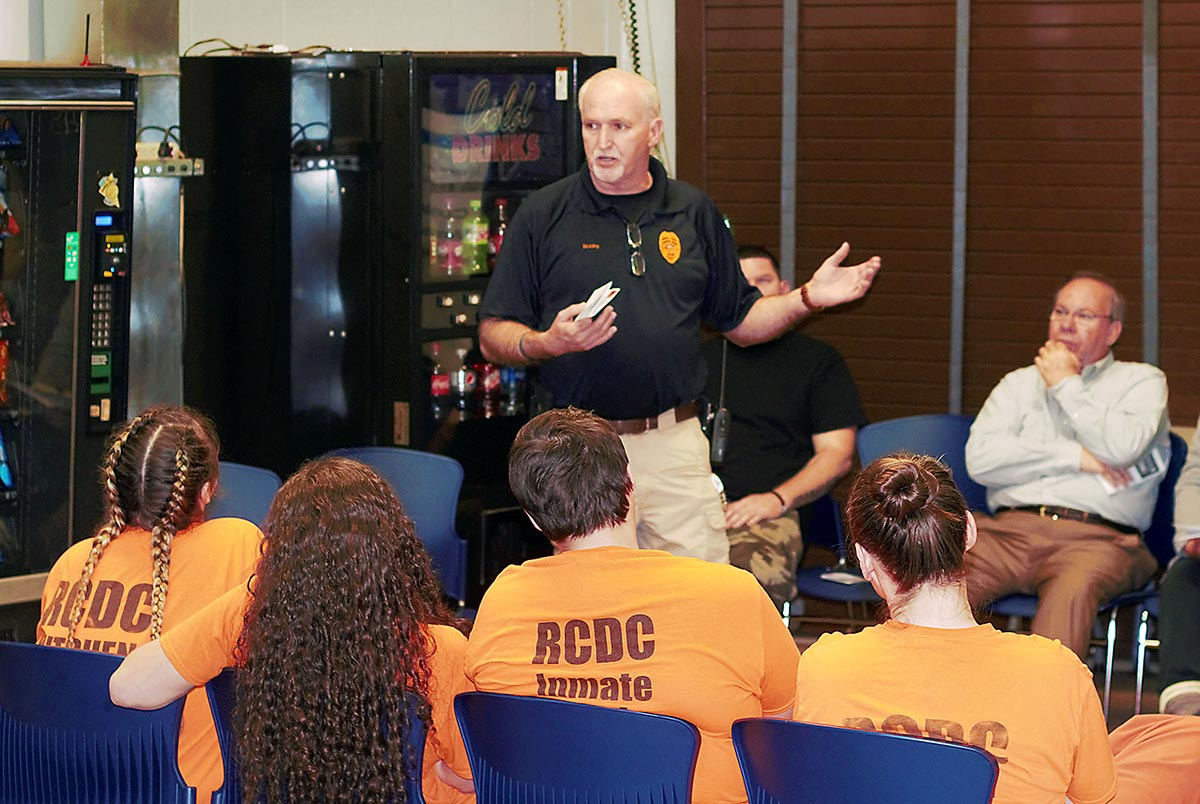 Russell County Jailer Bobby Dunbar speaks to a group of soon-to-be released inmates at the Russell County Detention Center on January 10, 2020.